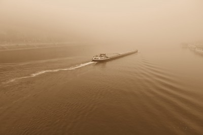A barge on the Danube River (click to enlarge)